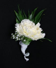 A large carnation in your choice of color with accenting foliage.