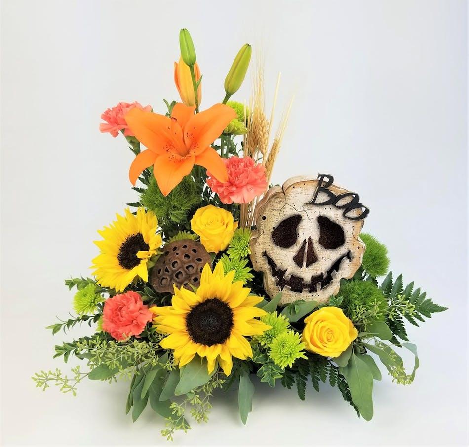Halloween Lantern & Fresh Flowers