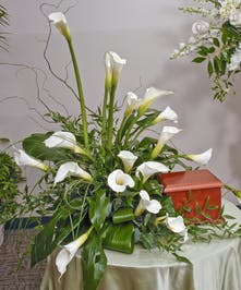 Elegant White Calla lilies provide the perfect display for an urn placement or for the service.  Design measures approximately 30
