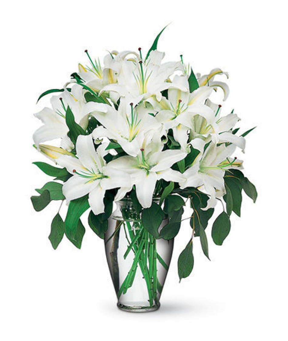 Lily flowers everett lynnwood seattle wa stadium flowers fragrant white oriental lilies are accented with seeded eucalyptus in an elegant clear vase izmirmasajfo