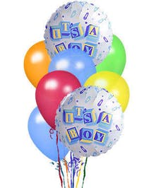 This balloon bouquet arrives with 2 Baby Boy-themed mylar balloons surrounded by 6 coordinating latex balloons and tied together with a ribbon. Designs and colors may vary.
