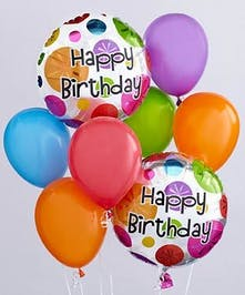 This balloon bouquet arrives with 2 Happy Birthday- themed mylar balloons surrounded by 6 coordinating latex balloons and tied together with a ribbon.