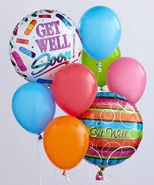 This balloon bouquet arrives with 2 Get Well- themed mylar balloons surrounded by 6 coordinating latex balloons and tied together with a ribbon. Designs and colors may vary.