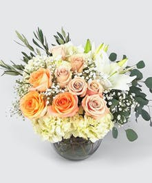 Lovely pastel roses, hydrangea, and fresh white lilies are beautifully featured in a stylish bubble bowl.