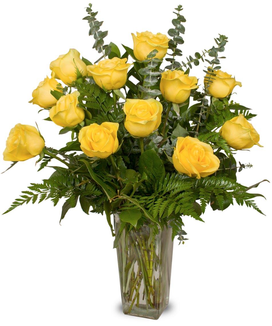 One dozen premium long-stemmed yellow roses