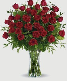 Red Roses designed in a large clear vase with lush greenery. Choose from 24 stems  or 48 stems.