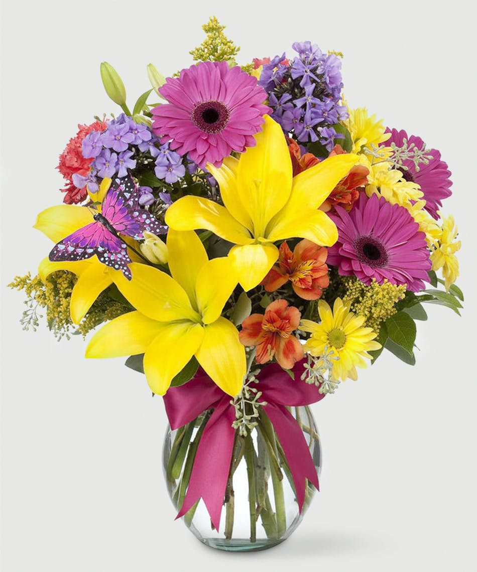Floral fields stadium flowers brightly colored spring flowers including lilies gerbera daisies and carnations in a izmirmasajfo