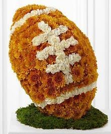 A football made of chrysanthemums and carnations for the sports' biggest fans.