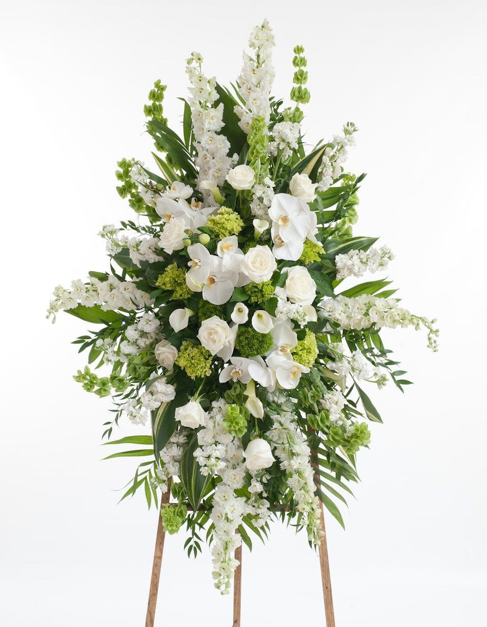 Premium green and white easel display stadium flowers premium collection of our finest white and green blooms featuring white roses orchids calla izmirmasajfo