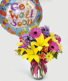This duo features a Get Well Mylar balloon and our signature