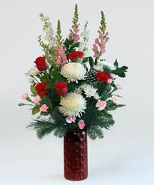 Always a holiday Favorite. Red and White with fresh holiday greenery effect all the senses to share with your Favorite! One sided design perfect for a side table or desk.