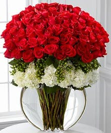 Red roses with white hydrangea and green accents mixed in a moon style vase. Choose 24, 48 or 72 Rose stems.