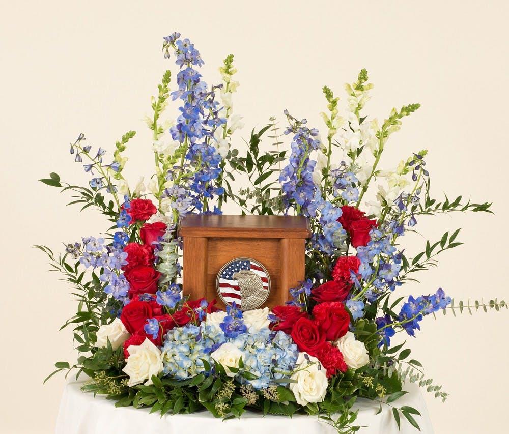 Patriotic memorial display stadium flowers for Red white blue flower arrangements