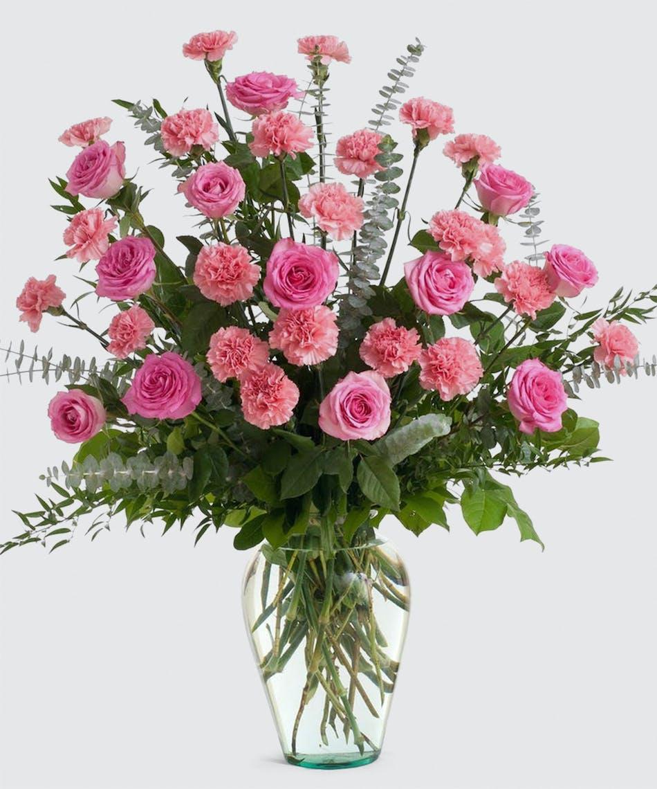 Pink Rose And Carnation Vase Design Stadium Flowers