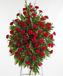 Classic red carnation Easel Display. Approximate size of the standard design is 28