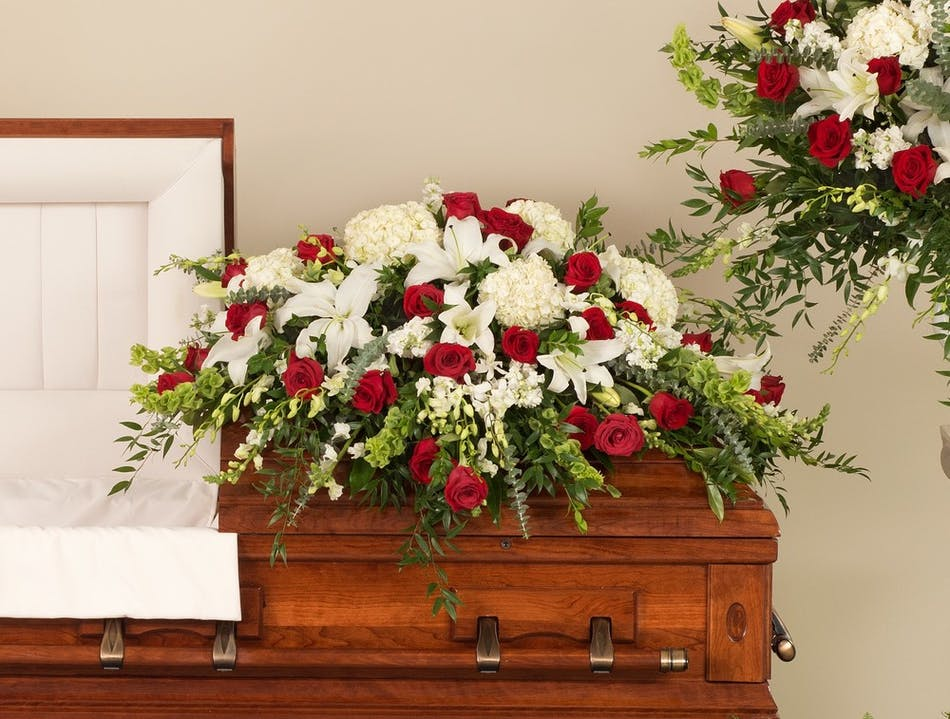 Classic red and white casket spray stadium flowers classic casket designed with a mix or premium red and white flowers including hydrangea roses mightylinksfo