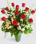 Red Roses with Orchids