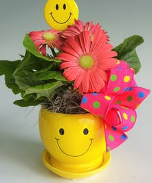 A ceramic smiley face contains the happiest flower, a gerbera daisy, in assorted colors and is finished with a smiley face pin and bow.