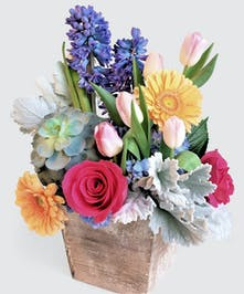 fresh Tulips and fragrant hyacinth! This design is created in a trendy real wood box white vintage white wash finish. Pastel blue, pink and peach.