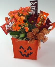 A keepsake jack 'o' lantern jute bag filled with seasonal fall plants and delicious chocolate bars.