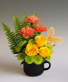 Everyone should Take a Break from time to time. this ceramic Mug with assorted fresh flowers can be the perfect Thank You! Please choose a color option.