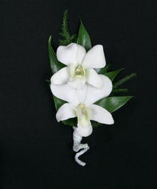 A boutonniere of two Dendrobium orchids accented with tropical foliage.