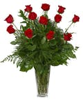 Dozen Roses Red with greenery