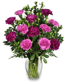 These colorful flowers are set with lush greens and filler in a clear vase. Please pick a color for the carnations.
