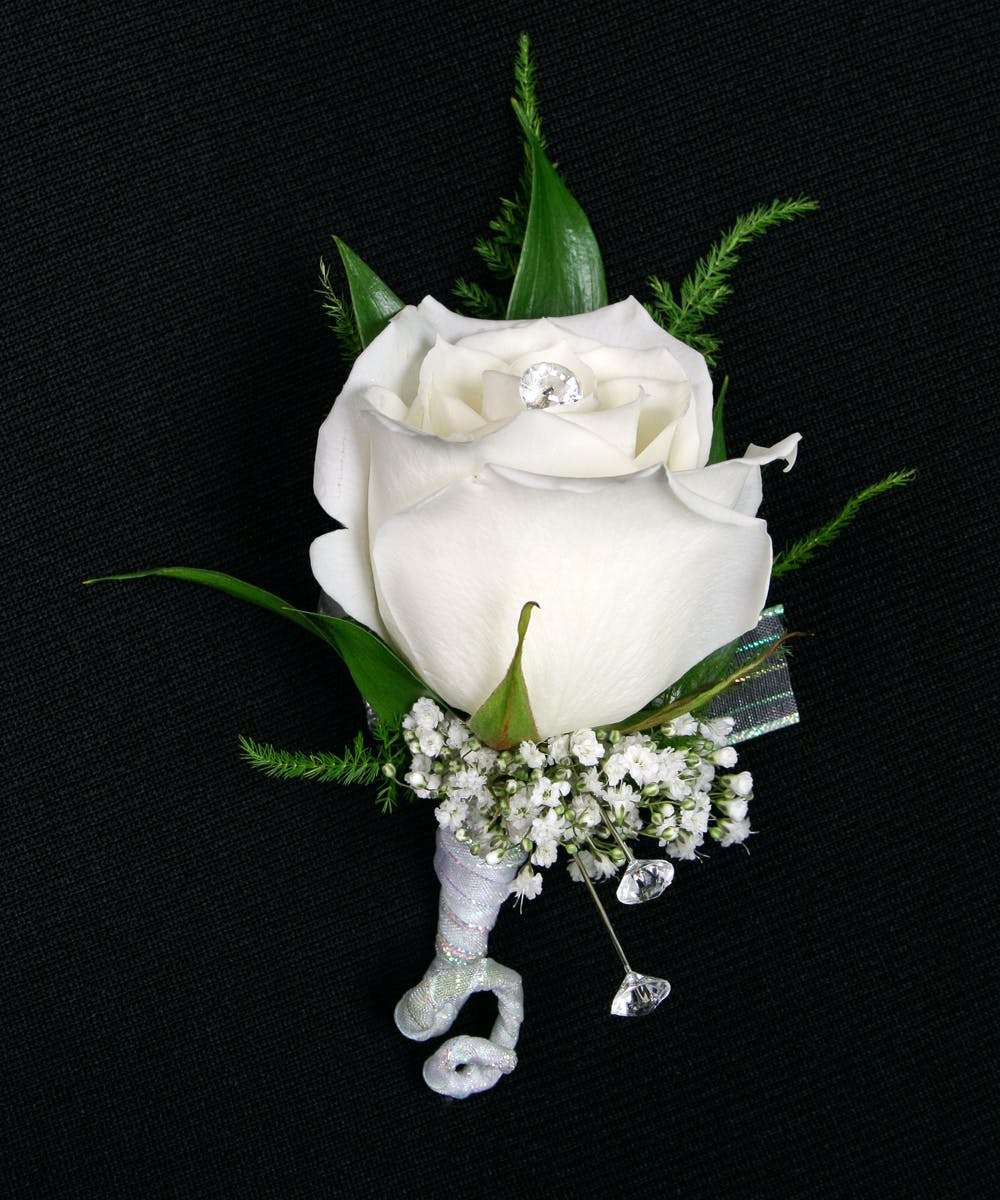 Extra Bling On Your Special Evening With The Stadium Flowers Exclusive  Glamorous Rose Boutonniere.