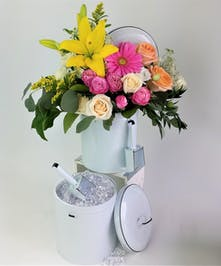 Vintage style Enamel Ice Bucket with Liner and fresh flowers