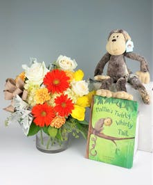 Jellycat Mattie's Twirly Whirly Tail Book, Plushy, and Fresh floral design