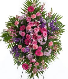 Delicate Pink and Lavender Easel Spray