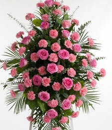 Pink Rose and Carnation Easel Spray