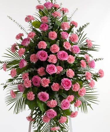 c8fcf2bf3fd20 Pink Rose and Carnation Easel Spray - Stadium Flowers