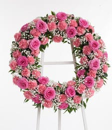 Pink Rose and Carnation Wreath Display