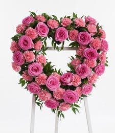 Pink Rose and Carnation Open Heart Display
