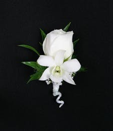 Dendrobium Orchid + Rose Boutonniere